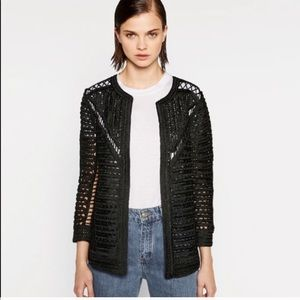 Zara Openwork Crochet Jacket Large black
